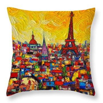 Vibrant Paris Abstract Cityscape Impasto Modern Impressionist Palette Knife Oil Ana Maria Edulescu Throw Pillow