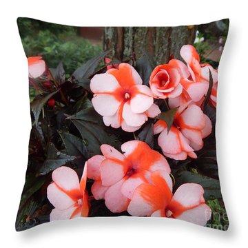 Plumerias Vibrant Pink Flowers Throw Pillow