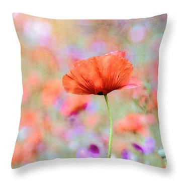 Vibrant Poppies In A Field Throw Pillow