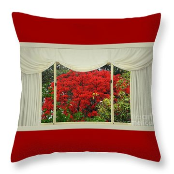 Throw Pillow featuring the photograph Vibrant Red Blossoms Window View By Kaye Menner by Kaye Menner