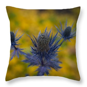 Vibrant Thistles Throw Pillow by Mike Reid