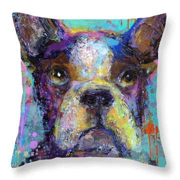 Vibrant Whimsical Boston Terrier Puppy Dog Painting Throw Pillow
