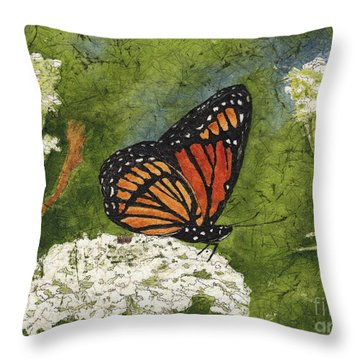 Viceroy Butterfly On Queen Anne's Lace Watercolor Batik Throw Pillow