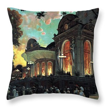 Vichy, France - Billets A Prix Reduits - Retro Travel Poster - Vintage Poster Throw Pillow