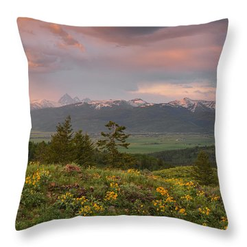 Victor Idaho Sunset Throw Pillow
