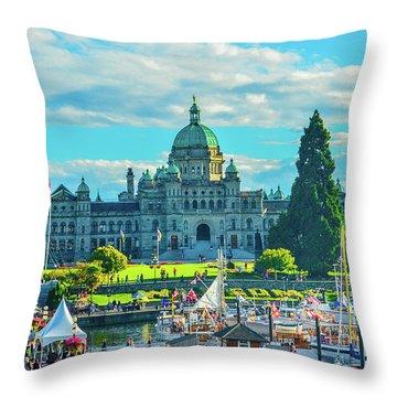 Victoria Bc Parliament Harbor Throw Pillow