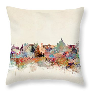 Throw Pillow featuring the painting Victoria Canada Skyline by Bri B