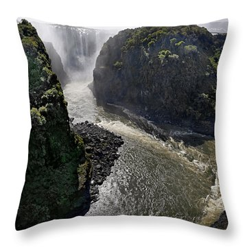 Victoria Falls Throw Pillow by Joe Bonita