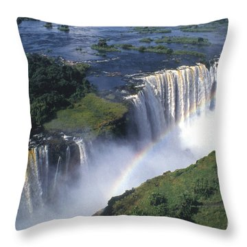 Victoria Falls Rainbow Throw Pillow by Sandra Bronstein
