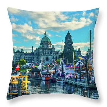 Victoria Harbor Boat Festival Throw Pillow
