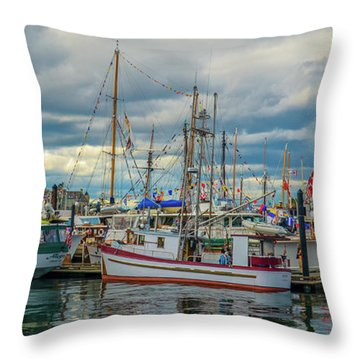 Victoria Harbor Boats Throw Pillow