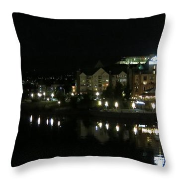 Victoria Harbor Night View Throw Pillow by Betty Buller Whitehead