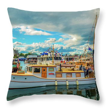 Victoria Harbor Old Boats Throw Pillow