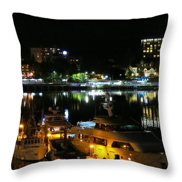 Victoria Inner Harbor At Night Throw Pillow by Betty Buller Whitehead