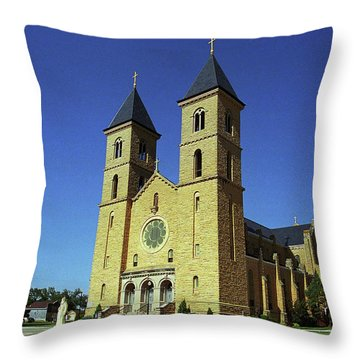 Throw Pillow featuring the photograph Victoria, Kansas - Cathedral Of The Plains 6 by Frank Romeo