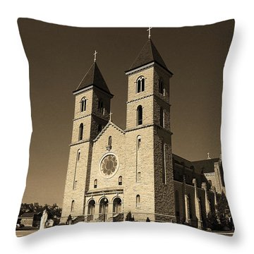 Throw Pillow featuring the photograph Victoria, Kansas - Cathedral Of The Plains Sepia 6 by Frank Romeo