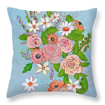 Victoria Rose Flowers Throw Pillow