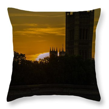 Victoria Tower In London Golden Hour Throw Pillow