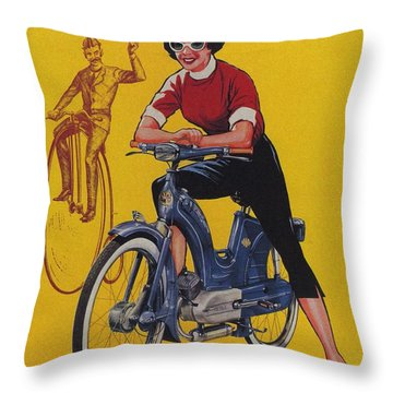 Victoria Vicky Iv - Motorcycle - Vintage Advertising Poster Throw Pillow