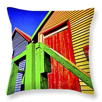 Victorian Bathing Boxes Throw Pillow by Dennis Cox WorldViews