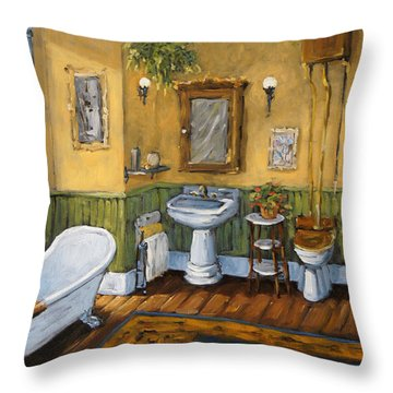 Victorian Bathroom By Prankearts Throw Pillow by Richard T Pranke