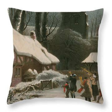 Victorian Christmas Scene With Band Playing In The Snow Throw Pillow