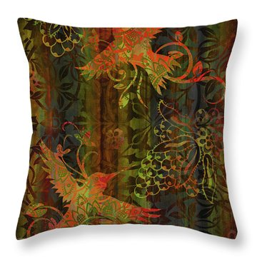 Victorian Humming Bird 3 Throw Pillow by JQ Licensing
