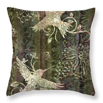 Victorian Hummingbird Green Throw Pillow by JQ Licensing