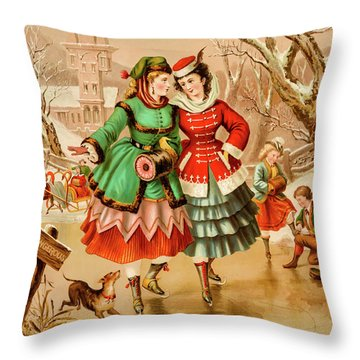 Victorian Ice Skaters Throw Pillow