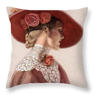 Throw Pillow featuring the painting Victorian Lady In A Rose Hat by Sue Halstenberg