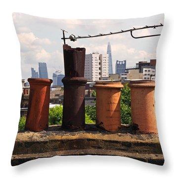Victorian London Chimney Pots Throw Pillow