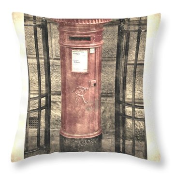 Victorian Red Post Box Throw Pillow