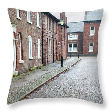 Victorian Terraced Street Of Working Class Red Brick Houses Throw Pillow by Lee Avison