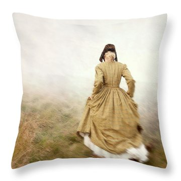 Victorian Woman Running On The Misty Moors Throw Pillow