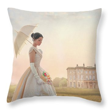 Victorian Woman With Parasol And Fan Throw Pillow
