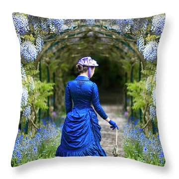 Victorian Woman With Wisteria Throw Pillow