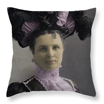 Throw Pillow featuring the photograph Victorian Women With Big Hat by Lyric Lucas