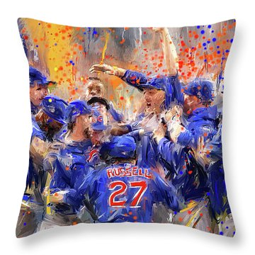 Victory At Last - Cubs 2016 World Series Champions Throw Pillow
