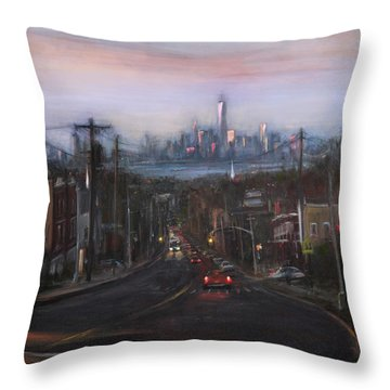 Victory Boulevard At Dusk Throw Pillow