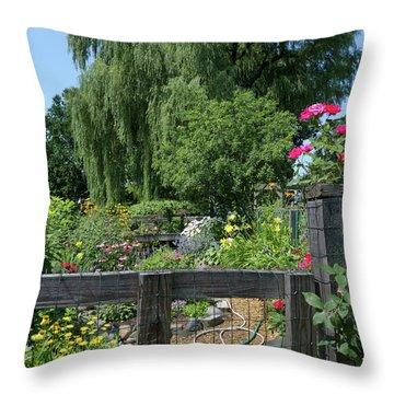 Victory Garden Lot And Willow Tree, Boston, Massachusetts  -30958 Throw Pillow