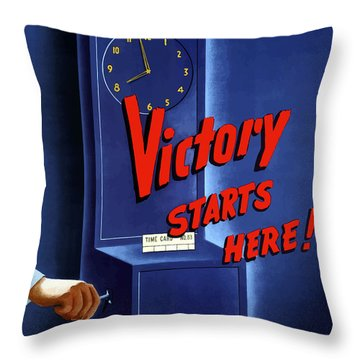Victory Starts Here Throw Pillow by War Is Hell Store