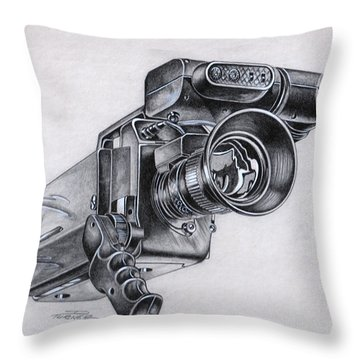 Video Camera, Vintage Throw Pillow