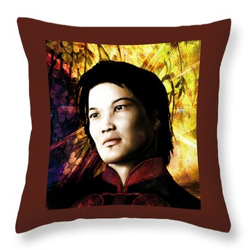 Throw Pillow featuring the painting Vietnamese Saint Bernard Vo Van Due by Suzanne Silvir