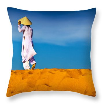 Vietnamese Woman In The Red Sand Dunes Mui Ne Vietnam Throw Pillow