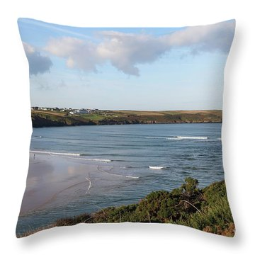 Throw Pillow featuring the photograph View Across The Gannel Estuary by Nicholas Burningham