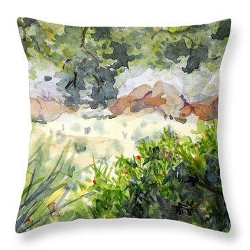 View At Red Rock Throw Pillow by Vicki  Housel