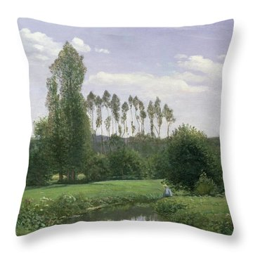 View At Rouelles Throw Pillow by Claude Monet
