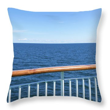 View At The Sea From Passenger Ship Throw Pillow