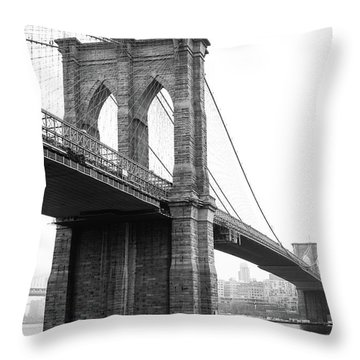 View Brooklyn Bridge With Foggy City In The Background Throw Pillow
