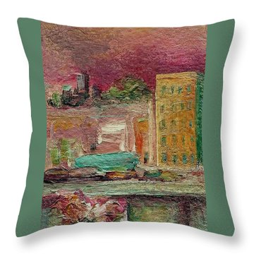 Throw Pillow featuring the painting View From A Balcony by Mary Wolf